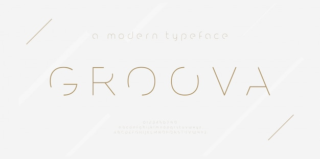 Abstraktes dünnes linienschriftalphabet. minimale moderne mode schriftarten und zahlen. typografie schrift großbuchstaben kleinbuchstaben und zahlen