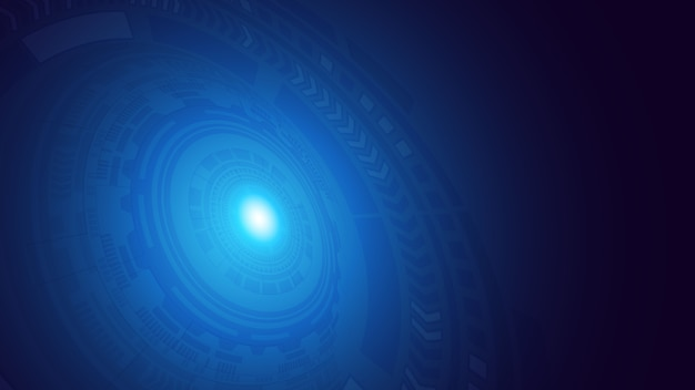 Abstraktes dunkelblaues digitales hud futuristische kreisstromkreismuster mit aufflackern rays hintergrund. hi-tech-illustration. hud-benutzeroberfläche. perspektive. wissenschaft und raumfahrttechnik. .