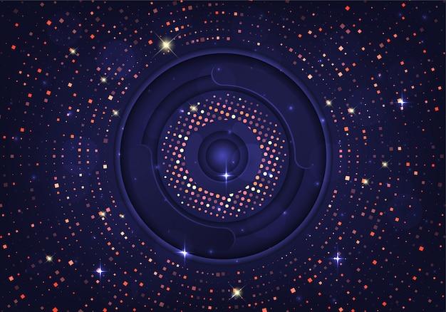 Abstraktes dunkelblaues hintergrundgoldfunkeln kombinieren mit lichteffekt.