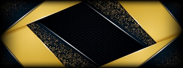 Abstraktes dunkelblaues metallisches mit futuristischem fahnenhintergrund der goldenen deckung