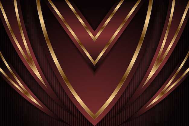 Abstraktes dunkelrotes und luxuriöses goldenes abwärtspfeil-metallic-richtungsluxusüberlappungsdesign modern
