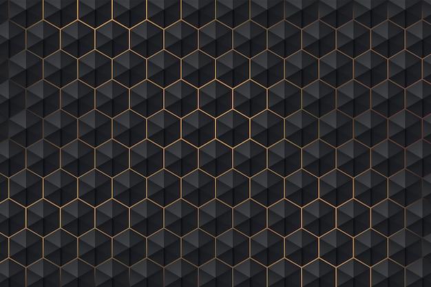 Abstraktes dunkles sechseckmuster 3d auf goldenem hellem hintergrundluxusstil