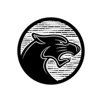 Abstraktes einfaches logo schwarzer phanter mit runder