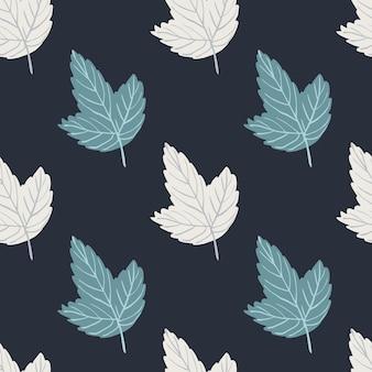 Abstraktes einfaches nahtloses muster mit blauen und weißen umrissblättern. dunkelblauer dunkler hintergrund. perfekt für stoffdesign, textildruck, verpackung.