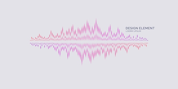 Abstraktes element mit dynamischen partikeln. vektorillustration im flachen minimalistischen stil