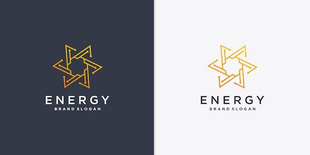Abstraktes energielogo mit kreativem linienkunstartvektorteil 5