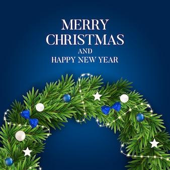 Abstraktes feiertags-neues jahr und frohe weihnachten mit realistischem weihnachtskranz