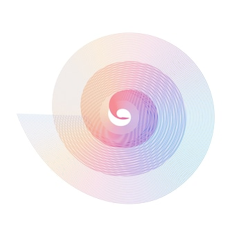 Abstraktes fibonacci-spiral-regenbogen-design-element von mischungslinien goldener schnitt mit traditionellen proportionen...