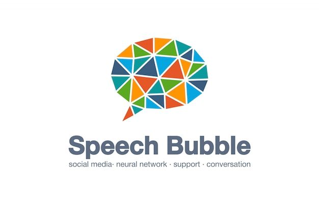 Abstraktes firmenlogo. corporate identity-element. social media markt, netzwerk, sprechblase, idee des nachrichtenlogos. dialog zitat ballon verbundenes konzept. interaktionssymbol