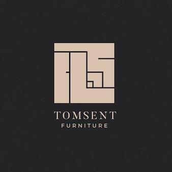 Abstraktes firmenlogo des minimalistischen möbelgeschäfts