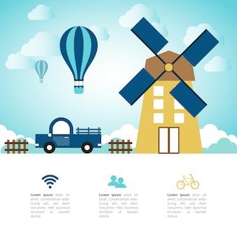 Abstraktes flaches infographic der Landschaft mit Windmühle und Auto.
