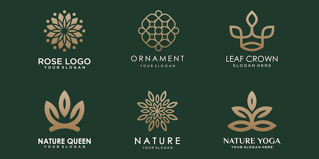 Abstraktes florales ornament logo icon set natur design vorlage vektor