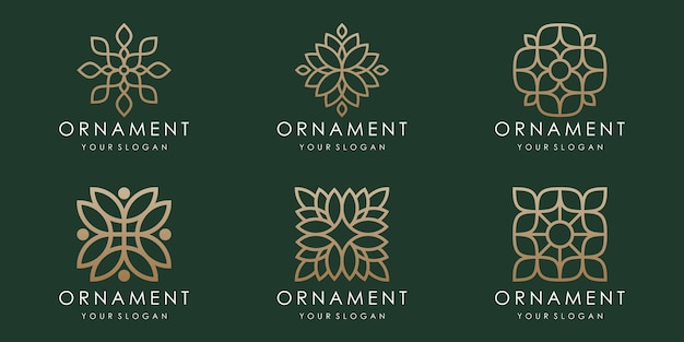 Abstraktes florales ornament-logo und icon-set. designvorlage vektor.