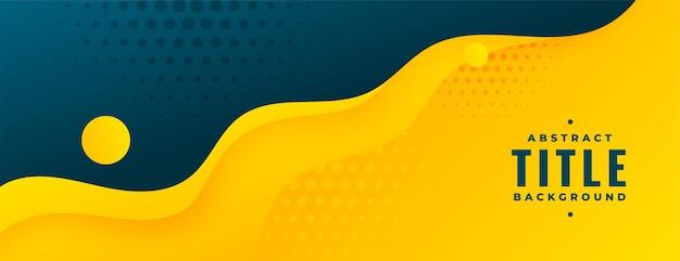 Abstraktes flüssiges banner in leuchtend gelber farbe