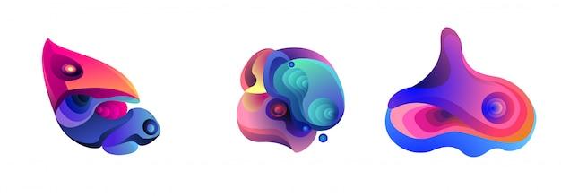 Abstraktes flüssiges form-fluid iiustration set