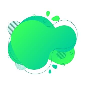 Abstraktes flüssiges gestaltungselement. minimalistischer hintergrund für text. wellenförmiges blasenbanner, postercliparts mit linien, punkten. gradient flüssige grüne flache form. geometrische farbabbildung. isolierter vektor