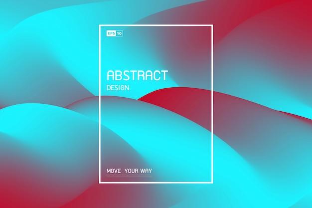 Abstraktes flüssiges maschendesign des hellen blauen und roten dekorationsabdeckungshintergrundes.
