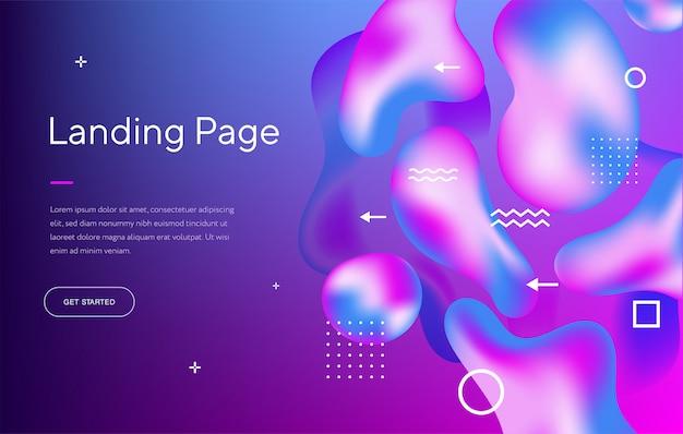 Abstraktes flüssiges modernes grafisches element. dynamische farbige formen und wellen. vorlage für die gestaltung einer website-landingpage