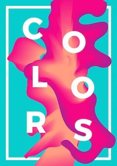 Abstraktes flüssiges plakat, bunte flüssigkeit mit dem mischen. trendige designs.