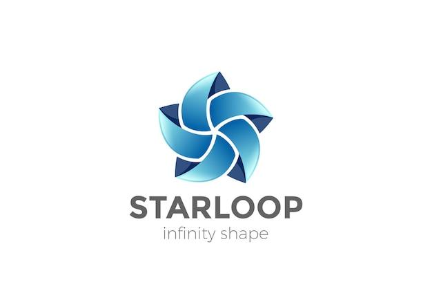 Abstraktes fünf-punkte-stern-logo. schleifenform infinity loop teamwork soziales logo.