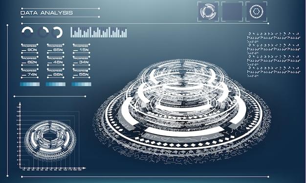 Abstraktes futuristisches objekt. hud elemet. die 3d-hologrammanzeige besteht aus glühenden partikeln und unscharfen kreisen.