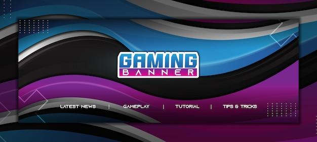 Abstraktes gaming facebook banner mit modernem farbverlauf blau und lila design