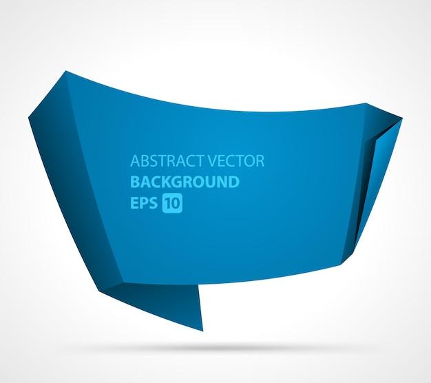Abstraktes gebogenes blattpapier. blau realistisch gefaltet mit kurvenelement.
