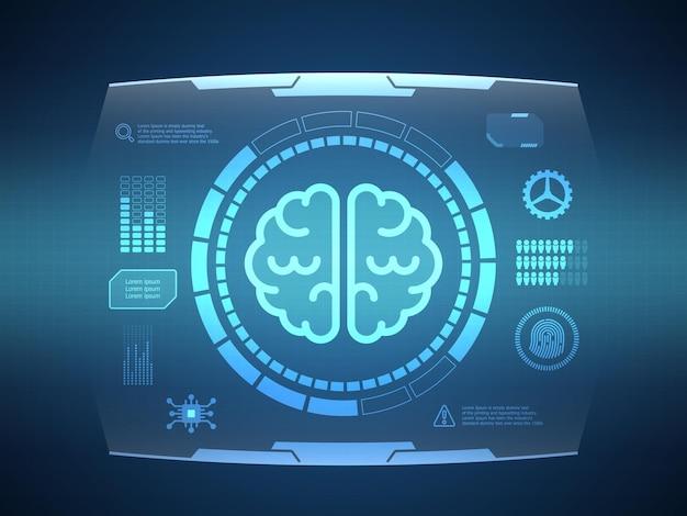 Abstraktes gehirn futuristische hud-display-schnittstelle sci-fi-technologie-hintergrund-vektor-illustration