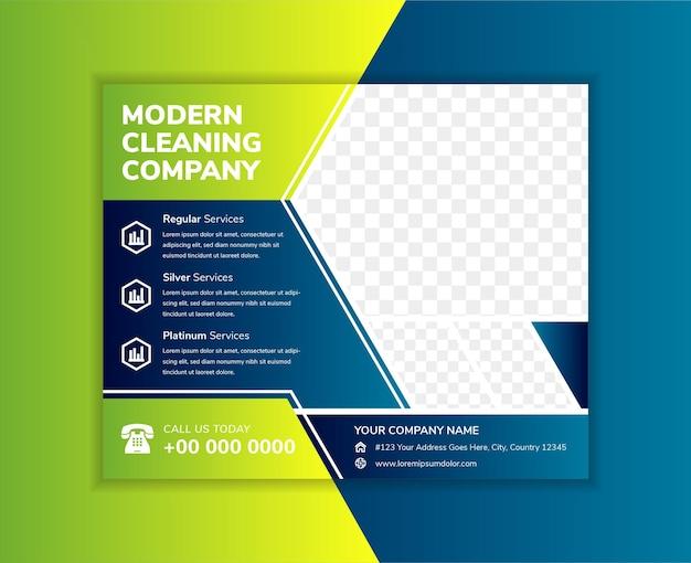 Abstraktes geometrisches flyer-vorlagendesign für die reinigungsfirma diagonaler raum der fotocollage