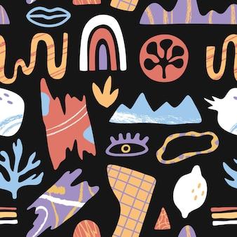 Abstraktes geometrisches gekritzel formt nahtloses muster der elemente mit bürstenbeschaffenheit auf schwarzem wiederholungshintergrund, kreative handgezeichnete zeitgenössische trendige tapete, flacher karikaturstil, exotische pflanzen und früchte