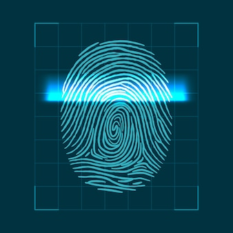 Abstraktes geometrisches konzept zum scannen von fingerabdrücken. überprüfung der persönlichen id. illustration