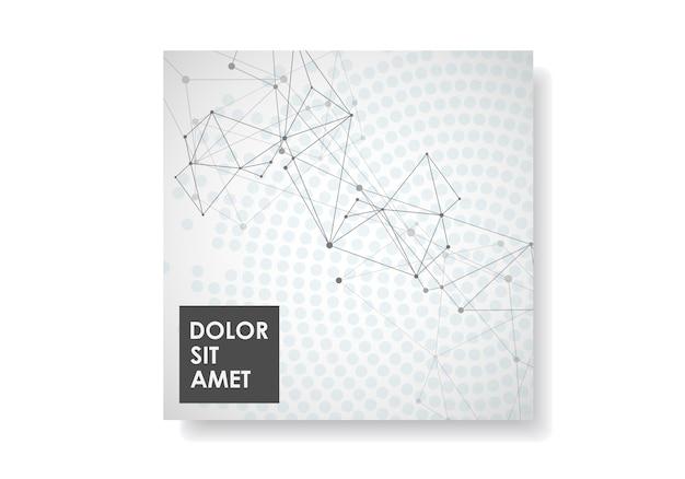 Abstraktes geometrisches mit verbundenen linien und punkten. technologiebroschüre cover