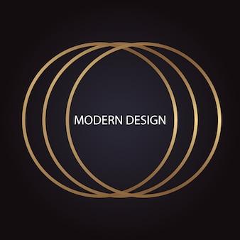 Abstraktes geometrisches modernes luxusdesign mit goldenen ringen auf dunklem hintergrund