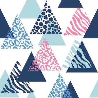 Abstraktes geometrisches muster mit tierdrucken.