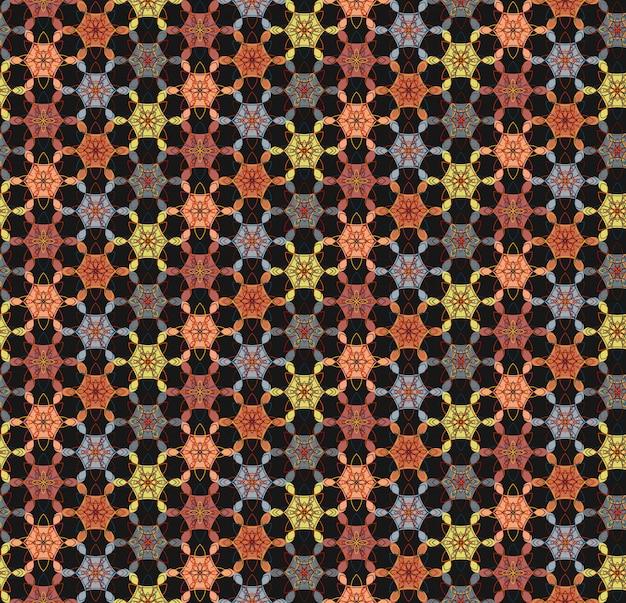 Abstraktes geometrisches nahtloses mit blumenmuster auf schwarzem hintergrund