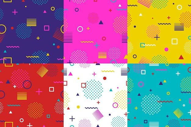 Abstraktes geometrisches nahtloses muster im memphis-stil.