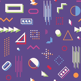 Abstraktes geometrisches nahtloses muster memphis-art