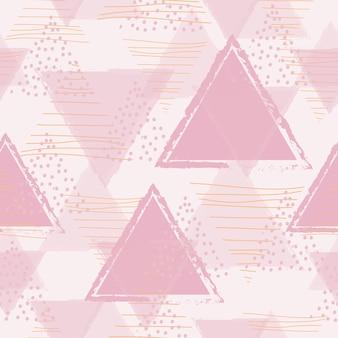 Abstraktes geometrisches nahtloses muster mit rosa dreieck