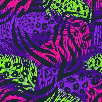 Abstraktes geometrisches nahtloses muster mit tierdruck.
