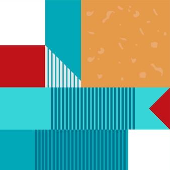 Abstraktes geometrisches nahtloses muster oder hintergrund. poster, karte, textil, tapetenvorlage. blaue rote und weiße farben.