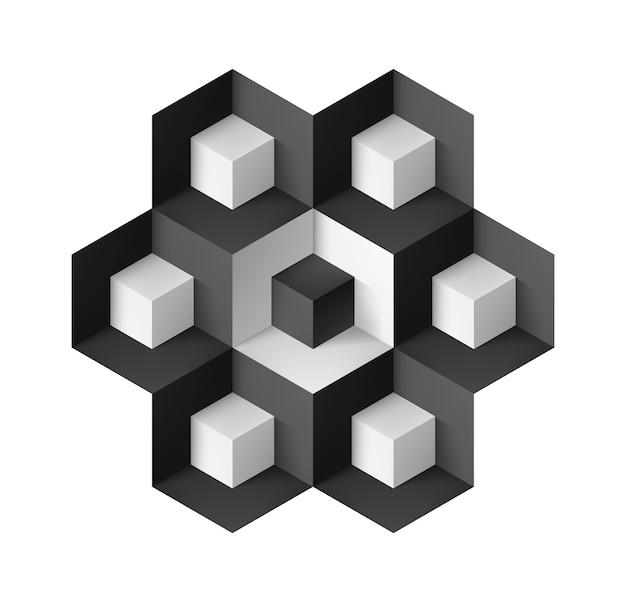 Abstraktes geometrisches objekt mit würfeln auf weiß