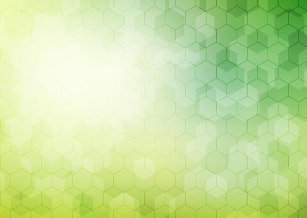 Abstraktes geometrisches sechseckmuster auf grünem hintergrund mit beleuchtung.