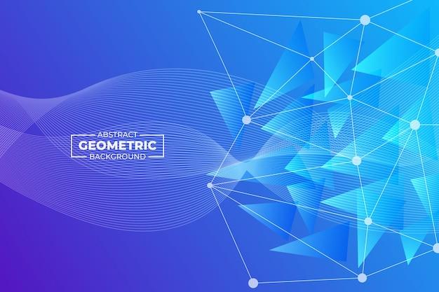 Abstraktes geometrisches und wellenlinienhintergrundblau