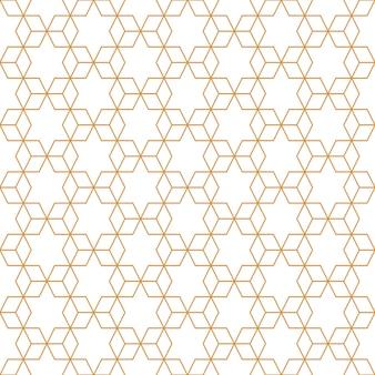 Abstraktes geometrisches würfelmuster nahtlos mit goldluxuslinie und weißem hintergrund.