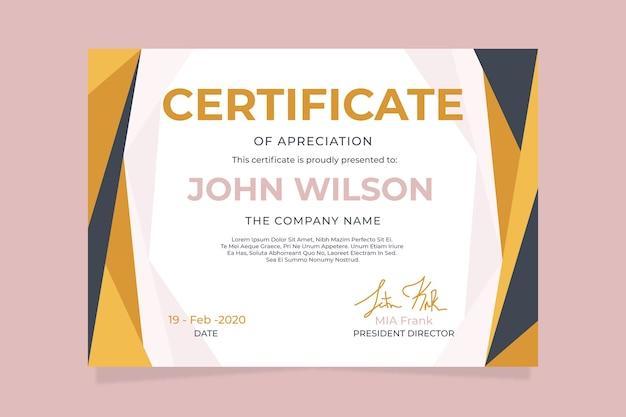 Abstraktes geometrisches zertifikatkonzept für schablone