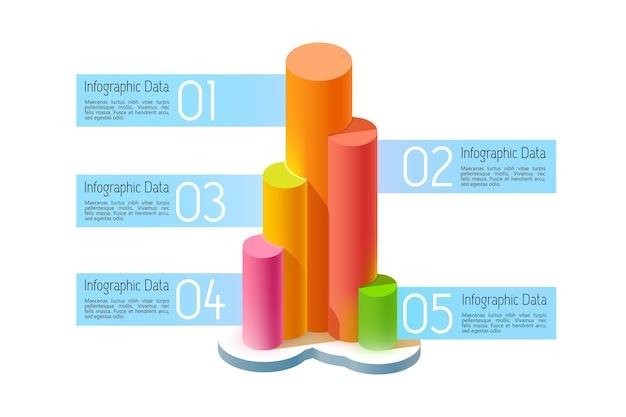 Abstraktes geschäftsinfografikkonzept mit fünf optionen und fahnen mit text der bunten 3d spalten