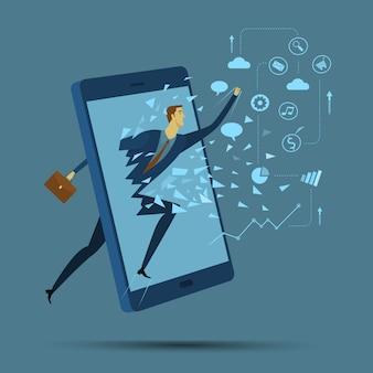 Abstraktes geschäftskonzept der kommunikation. mobile kommunikation.