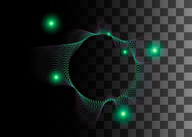 Abstraktes gestaltungselement grüne farbeffekt-vektorillustration auf transparentem hintergrund.