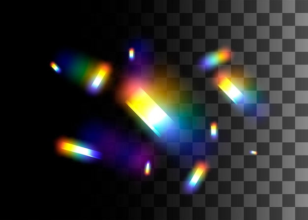 Abstraktes gestaltungselementregenbogenfarbeneffekt-vektorillustration auf transparentem hintergrund.