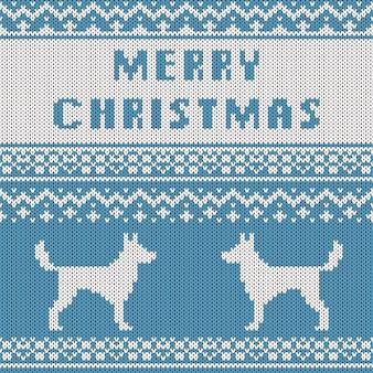 Abstraktes gestricktes weihnachtsmuster. strickbeschaffenheit für frohe weihnachten.